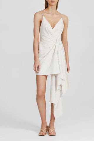 Acler Cream Mini Dress with Drape Waist Detail, Rouleau Spaghetti Straps and v-neckline
