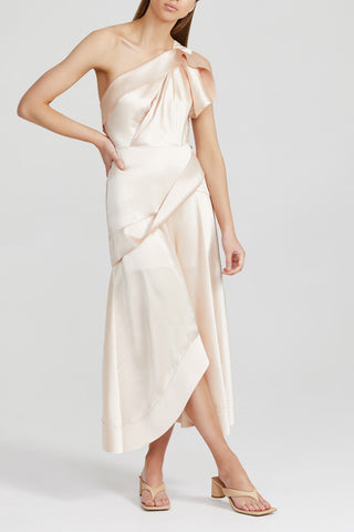 Acler Pale Pink, One Shoulder Midi Dress with Drape Detail and Curved Hem