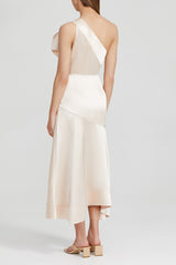 Acler Pale Pink, One Shoulder Midi Dress with Drape Detail and Curved Hem - Back View