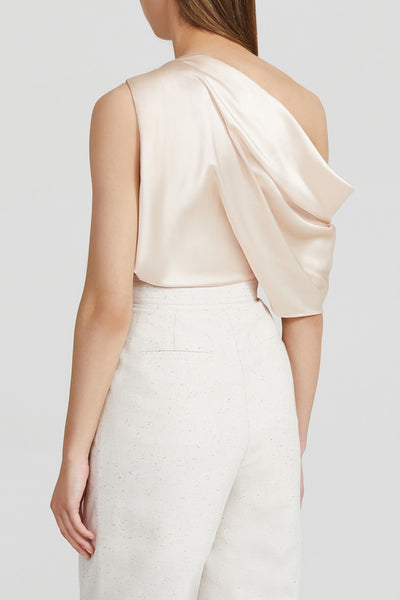 Acler Pale Pink Off Shoulder Top with Gather Detail - Back View
