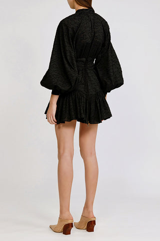 Acler black Bastia mini Dress with exaggerated sleeves