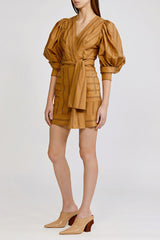 Acler Wyatt striped cotton mini dress with v neckline, exaggerated sleeves and gathered shoulder detail in burnt caramel (brown).