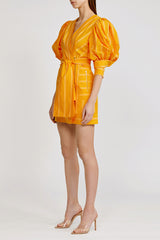 Acler Wyatt striped cotton mini dress with v neckline, exaggerated sleeves and gathered shoulder detail in pumpkin (orange).
