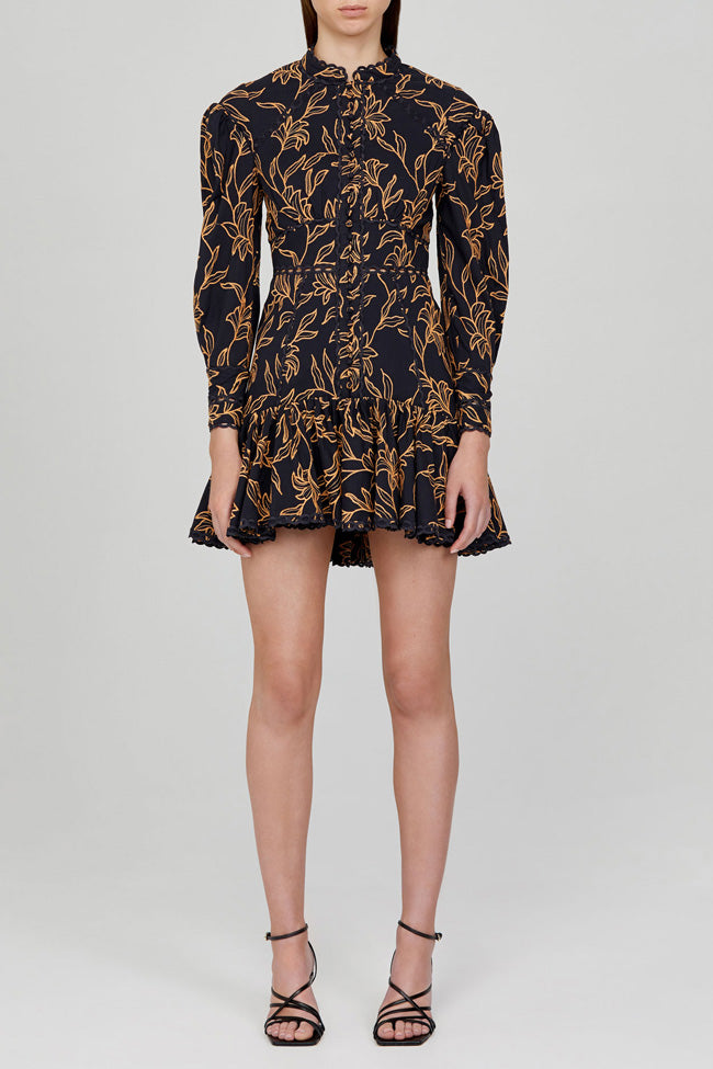 Acler Midnight Blue Long Sleeved Mini Dress with Gold Pattern