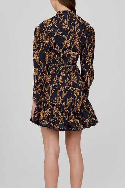 Acler Midnight Blue Long Sleeved Mini Dress with Gold Pattern - Back Detail
