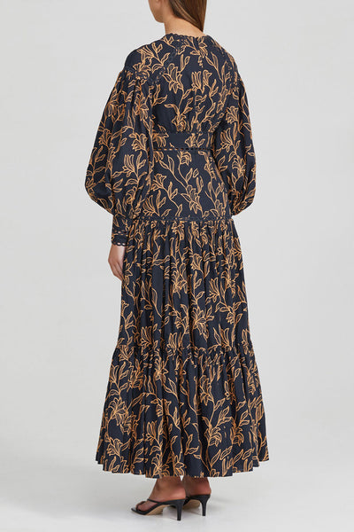 Acler Long Sleeved, Full Length Midnight Blue Dress with Gold Pattern