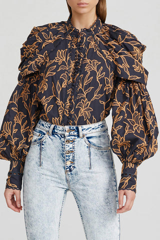 Acler Ladies Midnight Blue Blouse with Exaggerated Sleeves and Gold Pattern