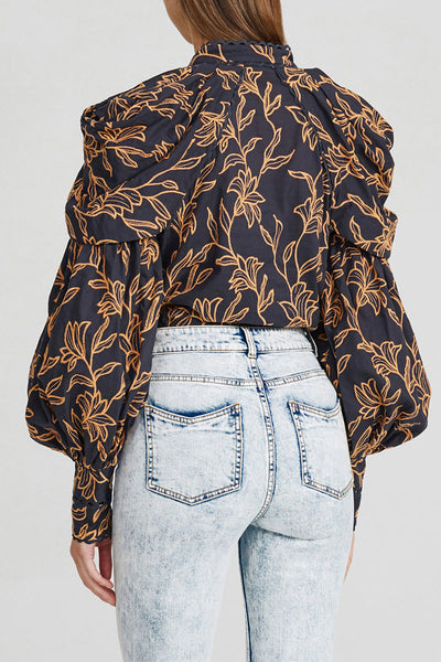 Acler Ladies Midnight Blue Blouse with Exaggerated Sleeves and Gold Pattern - Back Detail
