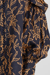 Acler Ladies Midnight Blue Blouse with Gold Pattern - Exaggerated Sleeve Detail