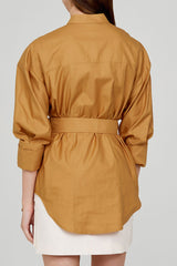 Acler Ladies Oversized Caramel Shirt with Detachable Belt - Back View