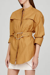 Acler Ladies Oversized Caramel Shirt with Detachable Belt - Side View