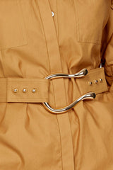 Acler Ladies Oversized Caramel Shirt with Detachable Belt - Gold Harp Buckle Detail