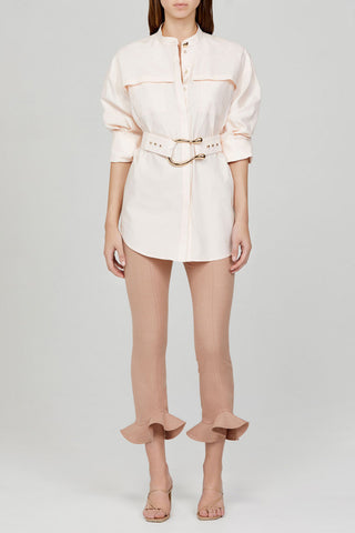 Acler Ladies Pastel Pink Oversized Shirt with Gold Harp Buckle Detail