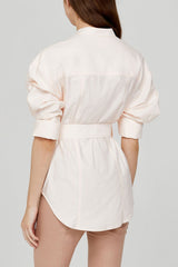 Acler Ladies Pastel Pink Oversized Shirt with Gold Harp Buckle Detail - Back Detail