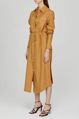 Acler Long Sleeved Caramel Midi Shirt Dress - Side View
