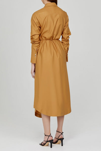 Acler Long Sleeved Caramel Midi Shirt Dress - Back View