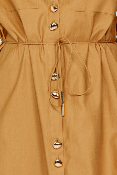 Acler Long Sleeved Caramel Midi Shirt Dress - Waist Tie Detail