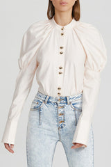Acler Ladies Pastel Pink Long Sleeved Collarless Shirt with Gold Button Detail