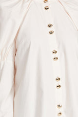 Acler Ladies Pastel Pink Long Sleeved Collarless Shirt - Gold Button Detail