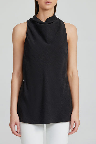 Acler Ladies Black Sleeveless Top with High Cowl Neck