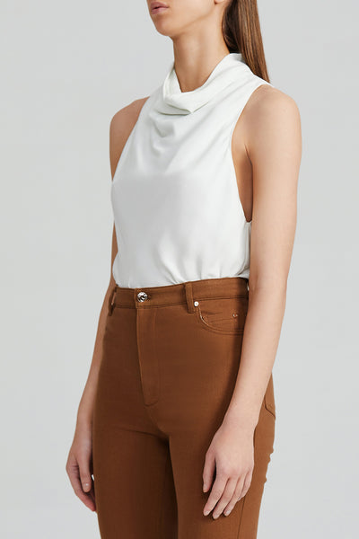 Acler Ladies Misty White Sleeveless Top with High Cowl Neck