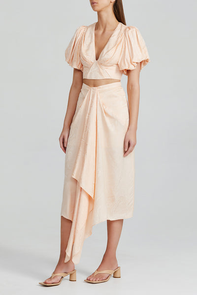 Acler Peach Midi Skirt with Gathering Detail