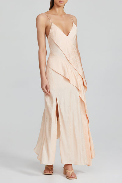 Peach asymmetric Full Length Acler Dress with Ruffle Detail and Spaghetti Straps