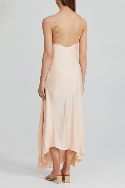 Peach asymmetric Full Length Acler Dress with Ruffle Detail and Spaghetti Straps - Back View