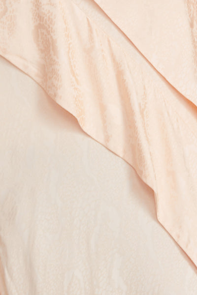 Peach asymmetric Full Length Acler Dress with Ruffle Detail and Spaghetti Straps - Ruffle Detail