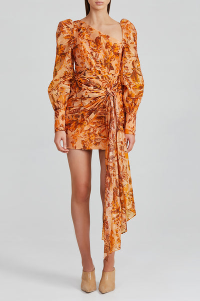 Acler Orange Flower Mini Dress with Long, Exaggerated Sleeves and cut-out Shoulder Detail.