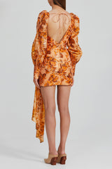 Acler Orange Flower Mini Dress with Long, Exaggerated Sleeves, cut-out Shoulder Detail and Low Back.