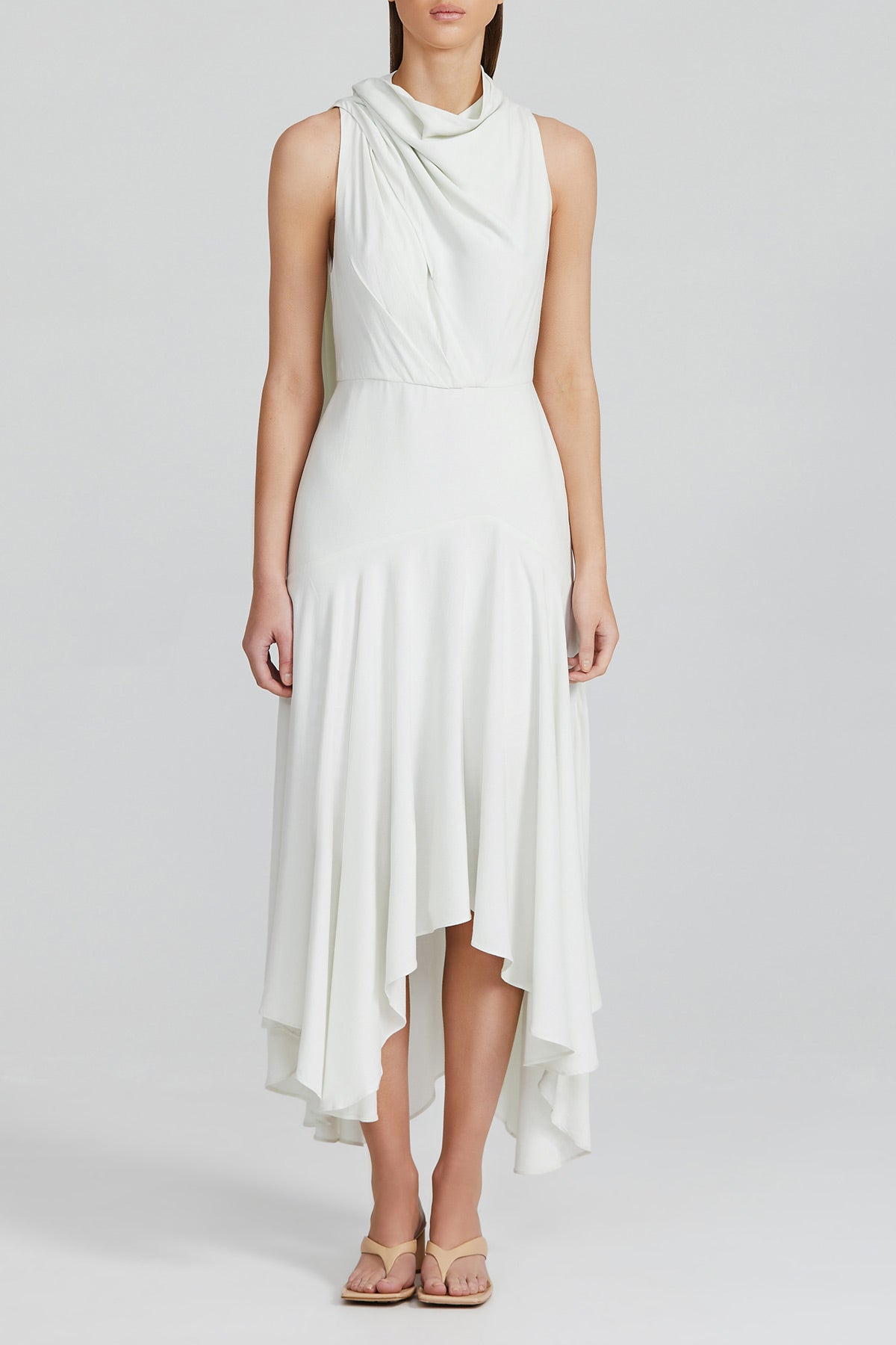 Acler Misty White Midi Length Dress with High Cowl Neck, Gathered Asymmetric Hemline and Neck Tie