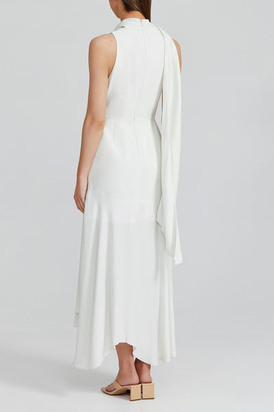 Acler Misty White Midi Length Dress with High Cowl Neck, Gathered Asymmetric Hemline and Neck Tie - Back Detail