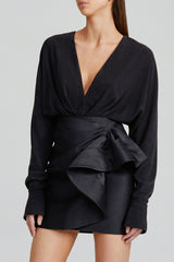 Acler Ladies Long Sleeved Black Blouse Top with Low v-neckline, Soft Twist Detail and Elongated Cuffs