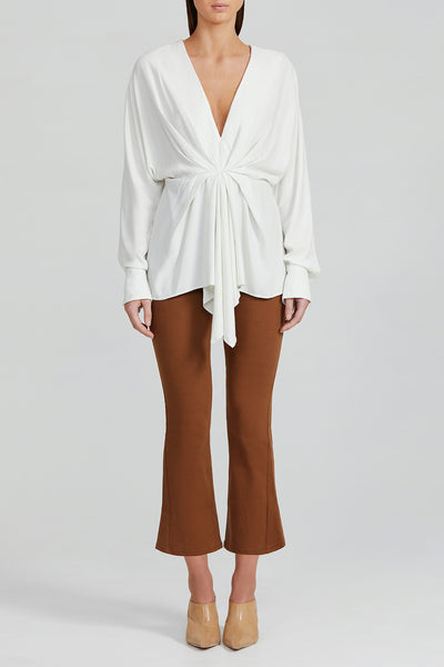 Acler Ladies Long Sleeved Misty White Blouse Top with Low v-neckline, Soft Twist Detail and Elongated Cuffs