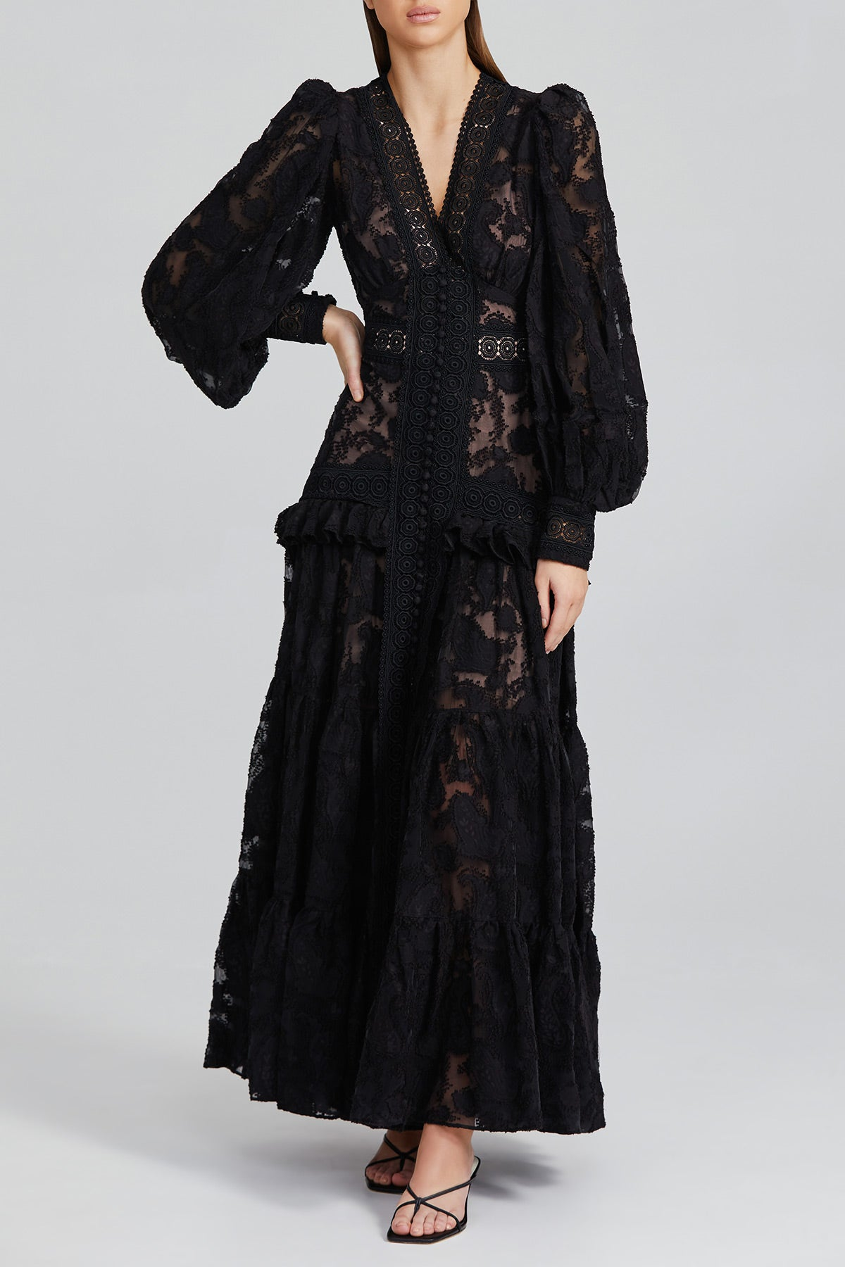 Long Sleeved, Black Lace Full Length Acler Dress