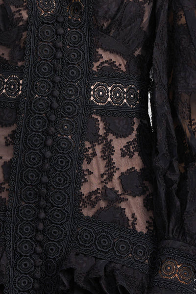 Long Sleeved, Black Lace Full Length Acler Dress - Waist Detail