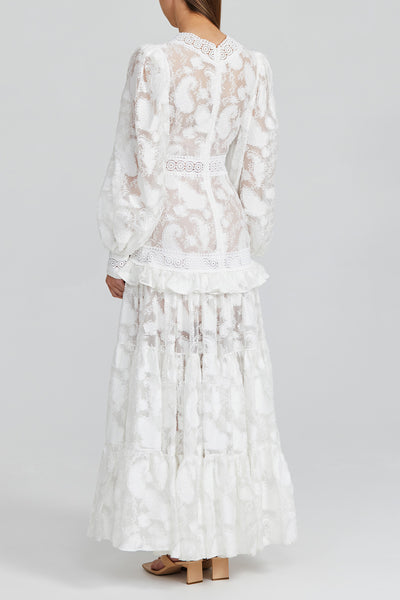 Acler Ivory Full-length Lace Dress with Low v-neckline, Exaggerated Balloon Sleeves and Lace Trim Detail