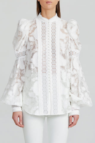 Acler Ivory Collarless Blouse with Lace Trim, Balloon Sleeves and Exaggerated Shoulder