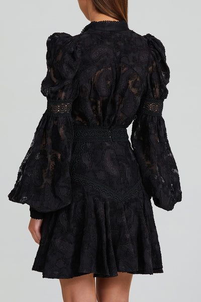 "Acler Black Lace ""Fit and Flare"" Mini Skirt with Lace Trim Detail  - Back View"