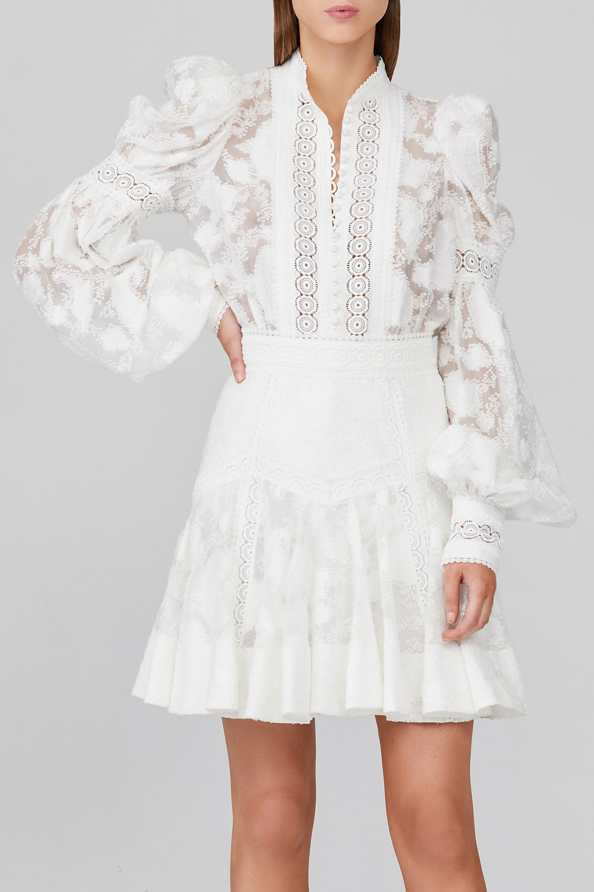 "Acler Ivory Lace ""Fit and Flare"" Mini Skirt with Lace Trim Detail"