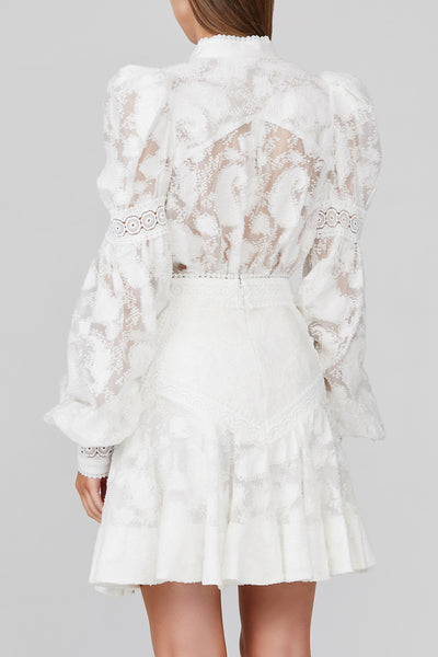"Acler Ivory Lace ""Fit and Flare"" Mini Skirt with Lace Trim Detail - Back View"