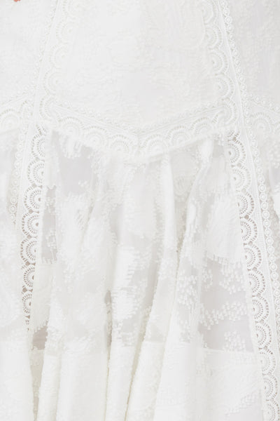 "Acler Ivory Lace ""Fit and Flare"" Mini Skirt - Lace Trim Detail"