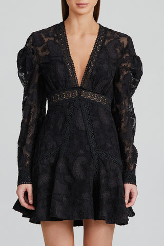 Acler Black Lace Mini Dress with v-neckline, Long Sleeves and Lace Trim Detail