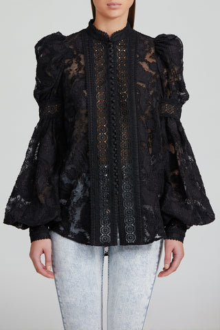 Acler Black Collarless Blouse with Lace Trim, Balloon Sleeves and Exaggerated Shoulder