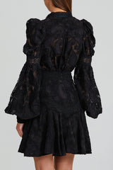 Acler Black Collarless Blouse with Lace Trim, Balloon Sleeves and Exaggerated Shoulder - Back View