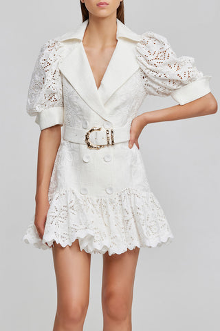 Acler natural white mini dress - fitted, button up detail with puff sleeves, fabric belt with gold bamboo hardware, collared v-neckline and lace frill hem in lightweight fabrication