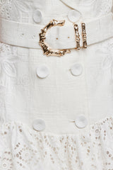 Acler natural white mini dress - fabric belt with gold bamboo hardware detail