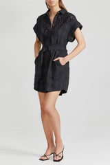 Acler black mini shirt dress - relaxed fit with buttons, cuff sleeves, fabric belt with d-ring, collared v-neckline and curved hem in lightweight fabrication