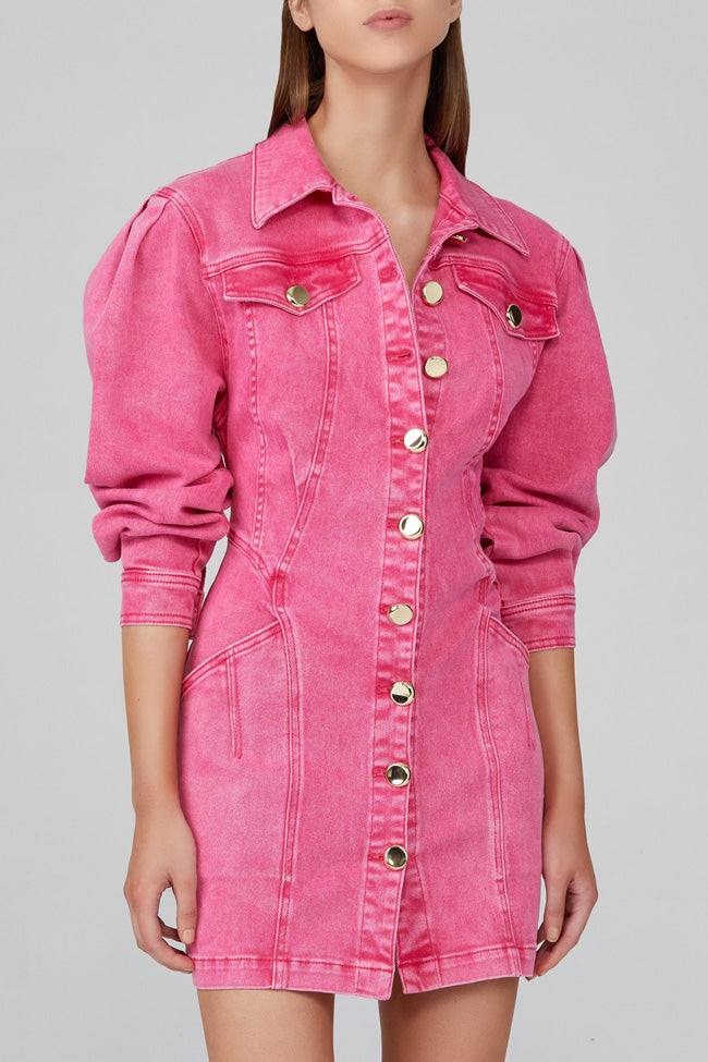 Acler Neon Pink, Denim Mini Dress with Long Sleeves and Gold Buttons